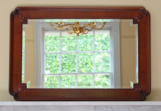 Antique quality mahogany framed overmantle wall mirror