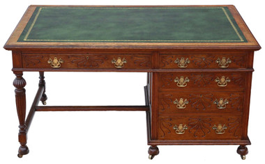 Antique quality large Victorian C1900 oak pedestal partner's desk