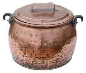 Antique large Victorian copper cook pot pan planter