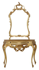 Antique reproduction giltwood console table side occasional and mirror