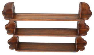 Antique Victorian elm/walnut wall mounted bookcase display shelves
