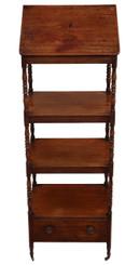 Antique Regency C1825 mahogany open bookcase whatnot shelves display lectern