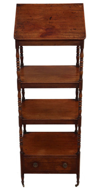 Antique Regency C1825 mahogany open bookcase whatnot shelves display lectern