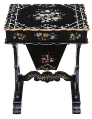 Antique 19th Century decorated work side sewing table box