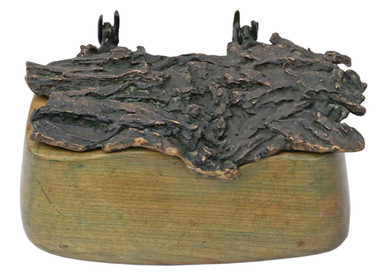 Antique wood and bronze contemporary box sculpture work of art John McGill