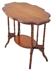 Antique Victorian 19C walnut side centre window table