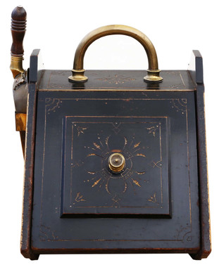Antique Victorian Aesthetic ebonised brass coal scuttle box purdonium