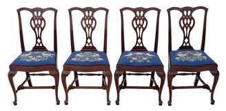 Antique quality set of 4 mahogany Chippendale revival dining chairs