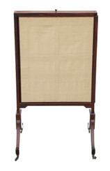 Antique large Regency mahogany sliding fire screen pole