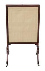 Antique large Regency mahogany sliding fire screen pole