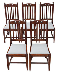 Antique quality set of 5 oak high back Art Nouveau dining chairs C1900-1920
