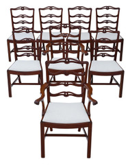 Antique fine quality set of 8 (6+2) Georgian revival mahogany dining chairs