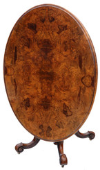 Antique Victorian C1870 burr walnut oval loo breakfast table tilt top