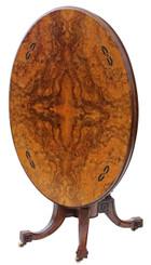 Antique Victorian Aesthetic burr walnut oval loo breakfast table tilt top