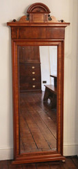 Antique Victorian walnut tall wall, floor or pier mirror