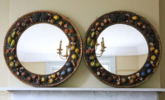 Antique pair of 19th Century circular wall mirrors Italian still life relief