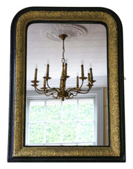 Antique Victorian ebonized / gilt wall mirror overmantle