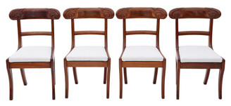 Antique set of 4 Regency C1825 mahogany dining chairs
