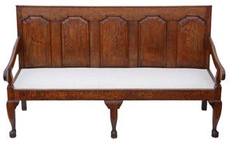 Antique Georgian rare quality Gothic oak settle hall seat sofa bench