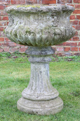 Large antique style cast stone planter plant pot urn