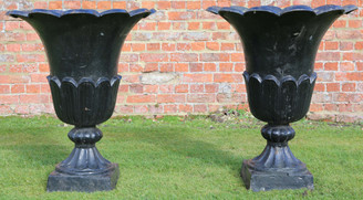 Large antique pair of cast iron planters urns plant pots tulip