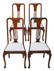 Antique quality set of 4 inlaid red walnut high back dining chairs C1910