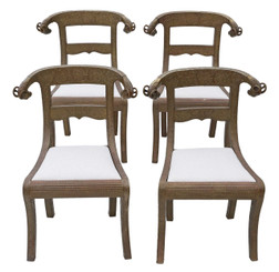 Antique rare quality set of 4 C1900 brass Anglo Indian dining chairs