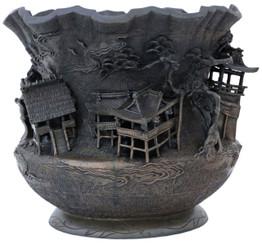 Antique rare quality Oriental bronze vase bowl planter Japanese Chinese