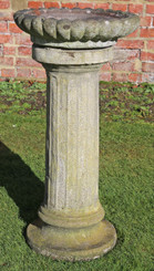 Large weathered patinated antique style cast stone bird bath