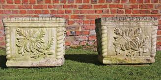 Pair of large antique style cast stone square planters plant pots