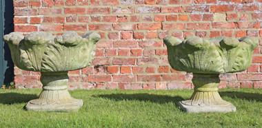 Antique pair of cast stone planters plant pots urns
