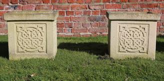 Pair of antique style cast stone square planters plant pots Sandford