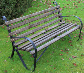 Antique wrought iron and wood 5' garden or park bench