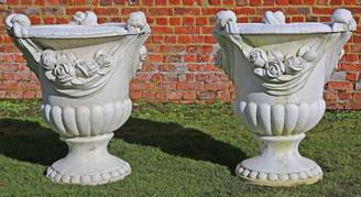 Large pair of antique style cast stone marble planters plant pots urns