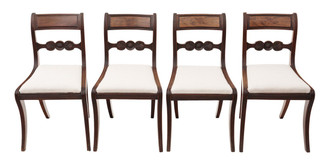Antique set of 4 C1825 Regency mahogany dining chairs