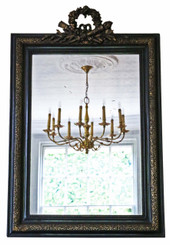 Antique large Victorian ebonized / gilt wall mirror overmantle