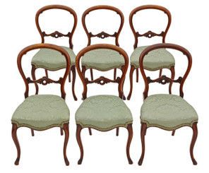 Antique set of 6 Victorian walnut balloon back dining chairs