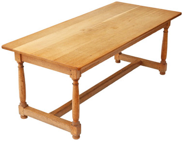 Antique quality large light oak refectory dining table kitchen