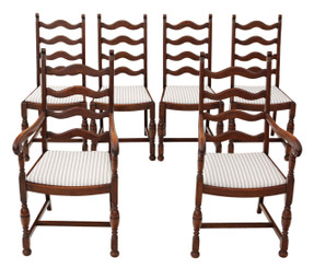 Antique quality set of 6 (4 + 2) country oak ladder back dining chairs C1920