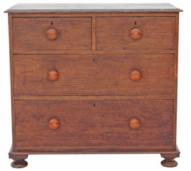 Antique 19C Victorian pine oak scumble chest of drawers