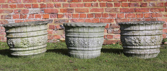 Antique set of 3 cast stone urns planters plant pots