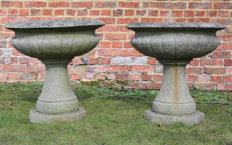 Antique pair of lightweight stone urns planters plant pots