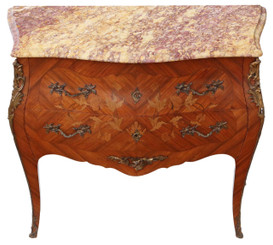 Antique quality bombe marquetry kingwood marble chest of drawers