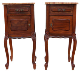 Antique pair of French walnut marble bedside tables cupboards cabinets