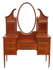 Antique quality large Edwardian inlaid mahogany dressing table