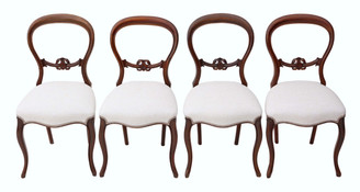 Antique set of 4 Victorian balloon back walnut dining chairs