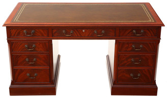 Antique large mahogany Georgian reproduction leather twin pedestal desk 5'