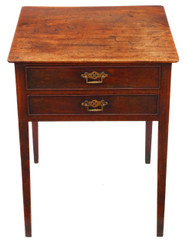 Antique quality Georgian C1800-1825 two drawer side lamp bedside table
