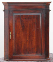 Antique Georgian 18C mahogany walnut corner wall cupboard cabinet