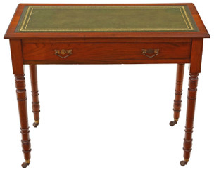 Antique Victorian C1890 walnut leather writing desk or dressing table